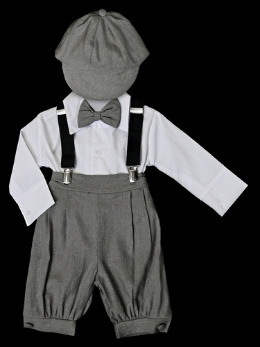 Charcoal Bermuda Set w/ Suspenders & Hat