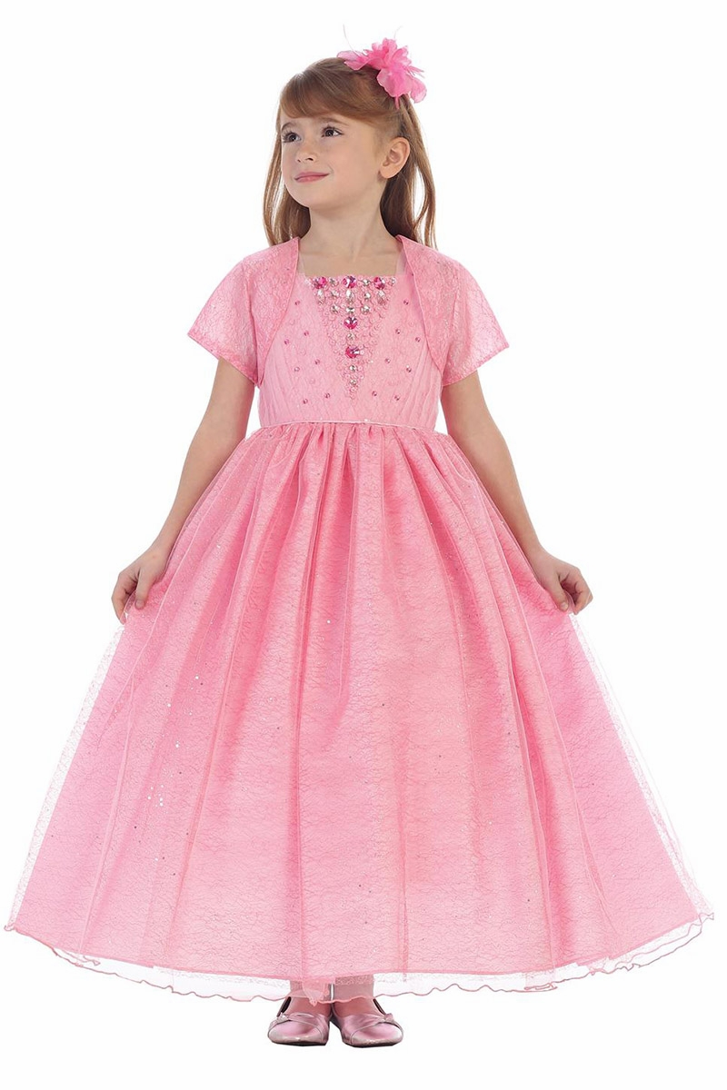 Chic Baby 1703 Pink Stone Encrusted Fit & Flare Dress / Bolero