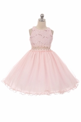 Chic Baby 1707 Pink Sequin Floral Embroidered Bodice w/ Wire Hem Overlay Skirt