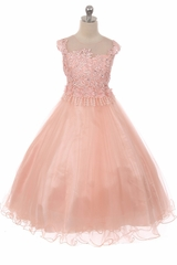 Chic Baby 1708 Blush Sleeveless Glitter Lace Dress w/ Illusion Neckline