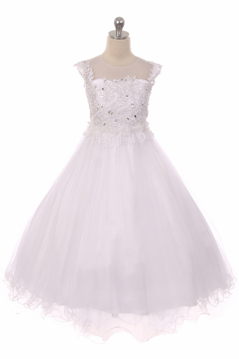 Junior bridesmaid dresses pinkprincess chic baby 1708 white sleeveless glitter lace dress w illusion necklin ombrellifo Choice Image