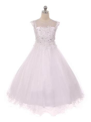 Chic Baby 1708 White Sleeveless Glitter Lace Dress w/ Illusion Neckline