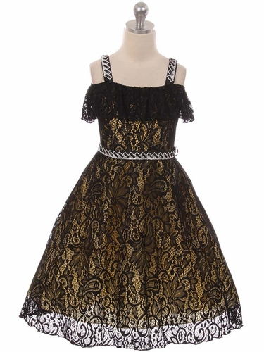 Chic Baby 1710 Black & Gold Off The Shoulder Lace Dress w/ Jeweled Straps & Belt