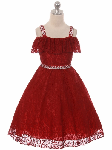 Chic Baby 1710 Burgundy Off The Shoulder Lace Dress w/ Jeweled Straps & Belt