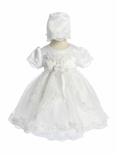 Chic Baby CM-021 White Cap Sleeve Satin & Lace Baby Dress