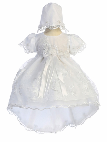 Chic Baby CM-025 Girls White Floral Embroidered Christening Dress