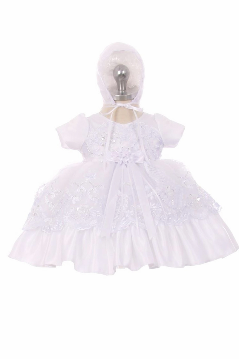 Chic Baby CM-028 White Cap Sleeve Christening Gown w/ Lace Overlay