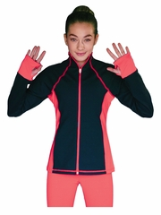 ChloeNoel Elite Coral Contrast Jacket w/ Pockets & Thumb Holes