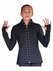 ChloeNoel Elite Swarovski Crystal Design Black Contrast Jacket w/ Pockets & Thumb Holes