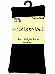 Chloe Noel TS0001 Black Boot Height Socks