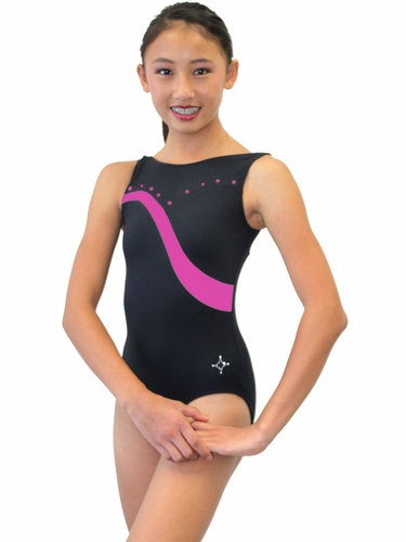 ChloeNoel Black Body w/ Fuchsia Stripe & Crystals Leotard