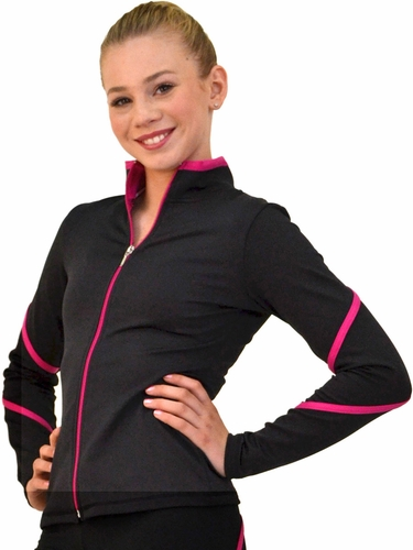 ChloeNoel Black/Fuchsia Pipings Swirl Jacket w/ Color Zipper