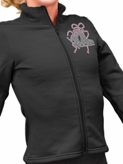ChloeNoel Black Polar Fleece Fitted Jacket w/ Custom Crystal Design