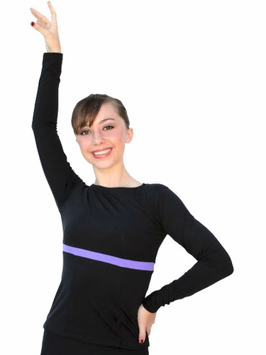 ChloeNoel Black/Purple Boat Neck L/S Fitted Skate Top