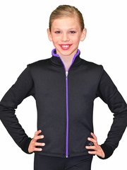 ChloeNoel Black/Purple Colored Zipper Fitted Fleece Jacket