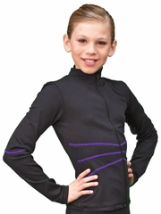 ChloeNoel Black/Purple Contrast Stich Fitted Jacket
