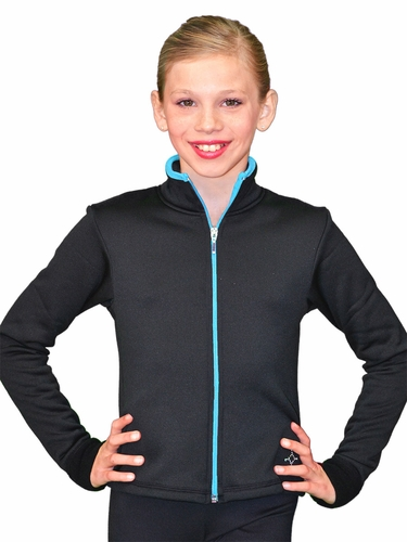 ChloeNoel Black/Turquoise Colored Zipper Fitted Fleece Jacket