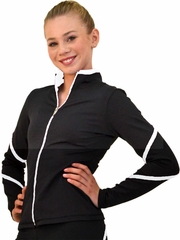 ChloeNoel Black/White Piping Swirls Jacket w/ Color Zipper