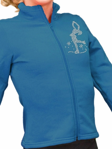ChloeNoel Dark Turquoise Polar Fleece Fitted Jacket w/ Custom Crystal Design