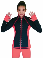 ChloeNoel Elite Swarovski Crystal Design Coral Contrast Jacket w/ Pockets & Thumb Holes