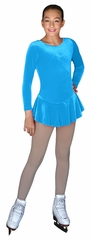 ChloeNoel Light Blue Long Sleeve Velvet Practice Dress