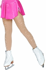ChloeNoel Light Tan Footed Tights w/ Crystals on One Thigh