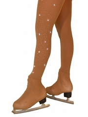 ChloeNoel Light Tan Over Boot Tights w/ Crystals on One Thigh