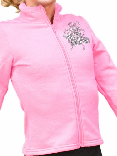 ChloeNoel Pink Polar Fleece Fitted Jacket w/ Custom Crystal Design
