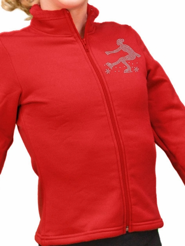 ChloeNoel Red Polar Fleece Fitted Jacket w/ Custom Crystal Design