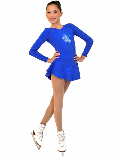 ChloeNoel Royal Blue Long Sleeve Fleece Dress w/ Crystals