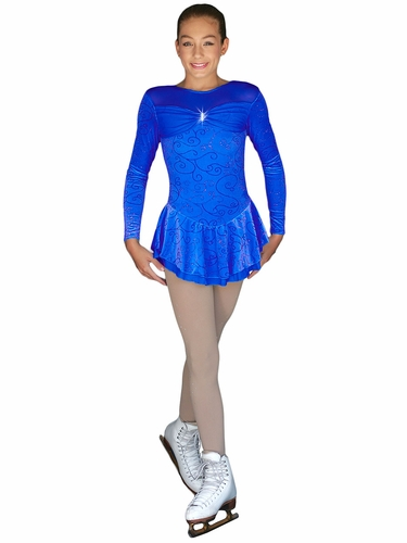 ChloeNoel Silver Swirl Royal Blue Sparkle Long Sleeve Cinderella Velvet Dress W/ Mesh