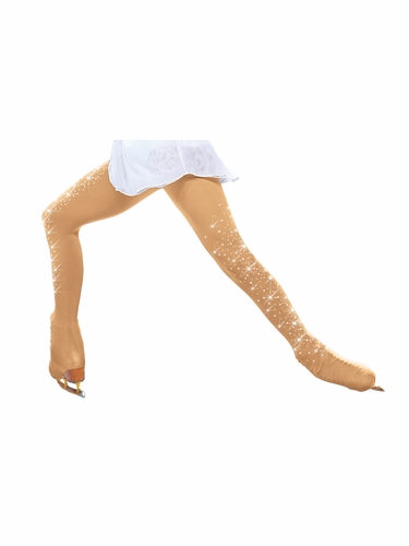 ChloeNoel TB3332-MT-2CR Medium Tan Over The Boot Tights w/ Crystals on Both Legs