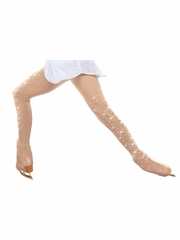 ChloeNoel TB8832-2CR Light Tan Over The Boot Tights w/ Crystals on Both Legs
