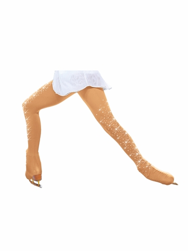 ChloeNoel TB8832-2CR Tan Over The Boot Tights w/ Crystals on Both Legs