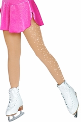 ChloeNoel TF3330-1Crystals Medium Tan  Footed Tights w/ Crystals On 1 Thigh