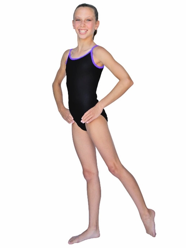 ChloeNoel Black Body w/ Purple Binding Leotard w/ Thin Straps