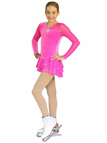 ChloeNoel Triple Layer Long Sleeve Sparkle Folly Pink Velvet Dress