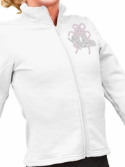 ChloeNoel White Polar Fleece Fitted Jacket w/ Custom Crystal Design