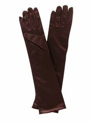 Chocolate Brown Long Satin Gloves