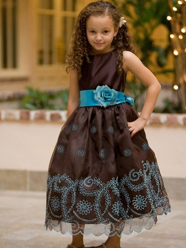 Chocolate Organza Dress w/ Turquoise Embroidery