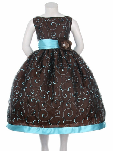 Chocolate/Turquoise Taffeta Organza Embroidered Dress