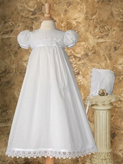 "Christening 26"" Dress Trimmed w/ Italian Lace & Ribbon"