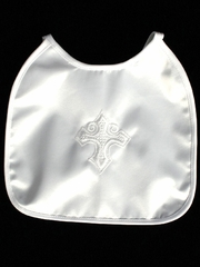 Christening Embroidered Satin Bib
