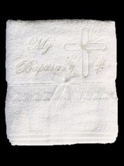 English Christening Towel with Embroidered Cross and Lace Trim