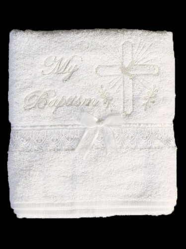 Christening Towel with Embroidered Cross and Lace Trim