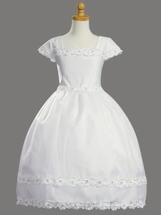 Communion Dress Organza Skirt w/ Ribbon Lace