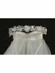Communion Headpiece w/ Organza & Crystal Flowers
