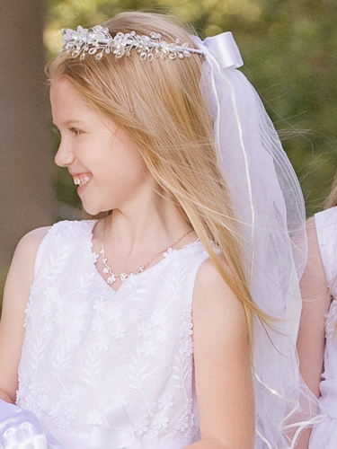 Communion Veil w/Crystal Flowers, Beads & Rhinestones