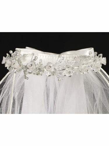 Communion Veil w/ Crystal Organza Flowers & Rhinestone Accents