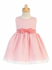 Coral Basket Burnout Organza Girls Dress